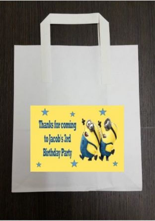 4 x Minions Birthday Party Bags with Personalised Sticker